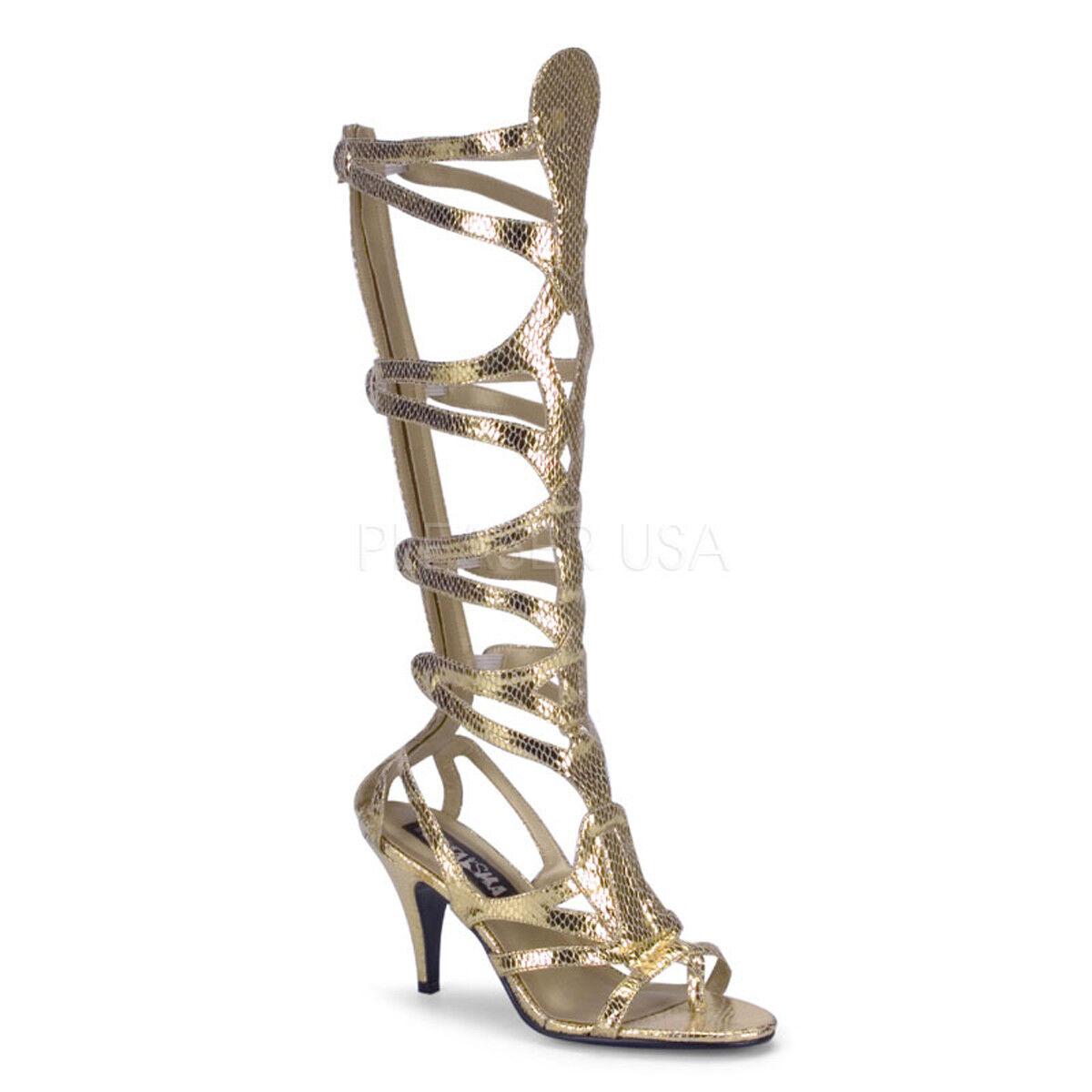 PLEASER FUNTASMA Goddess-12 gold Snakeprint Gladiator Goddess Costume Sandals