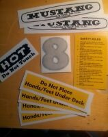 Mustang Mower Mowett Sales Co Complete Decal Set For 8hp Rider 9 piece Cautions