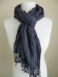 f35b1931e58d United Colors of Benetton ladies scarf navy blue crinkled womens NEW ...