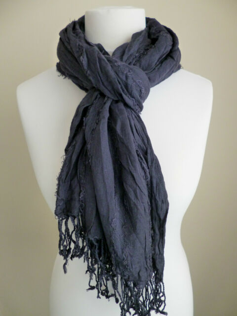 6ca812fed89c3 United Colors of BENETTON Ladies Scarf Navy Blue Crinkled Womens | eBay