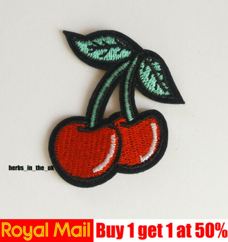 Sew On Patch Badge Red Cherry Patch Embroidered Applique Iron On