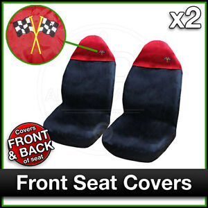 BLACK-and-RED-Car-Seat-Covers-UNIVERSAL-Protectors-PAIR-x-2-Water-Proof-FRONT