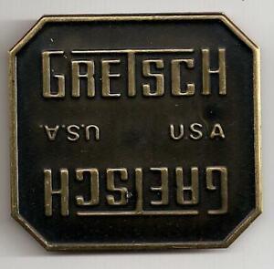 Gretsch-USA-Dark-Bronze-Drum-Badge-Nameplate-No-Hole-Snare-Tom-Bass-NOS