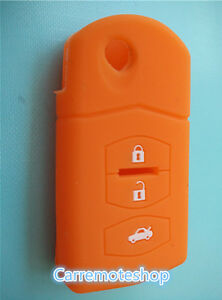 MAZDA-3-2-6-SILICONE-CAR-3-BUTTON-FLIP-KEY-COVER-CASE-MPS-CX7-CX9-orange