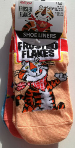 KELLOGG/'S FROSTIES Chaussure Liners Chaussettes 3pk Taille 4-8UK adulte Official Licensed BNWT