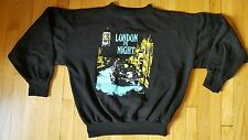 Vintage 80s LONDON BY NIGHT sweatshirt L XL black crewneck 89 England big ben UK