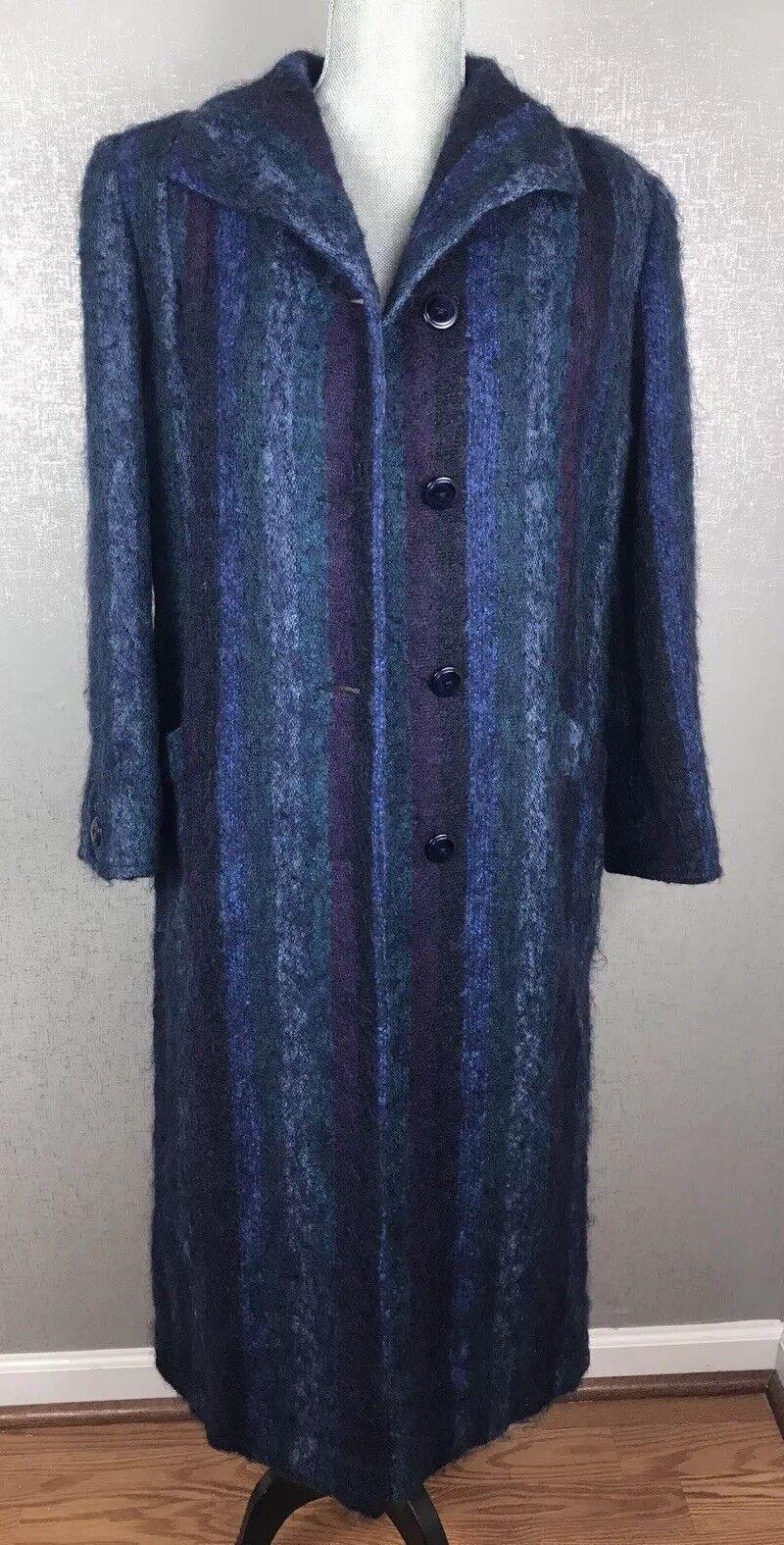 Paul Levy Luxurious Mohair Coat SZ Med Long Purple Purple Purple bluee Stripes Vintage cb3eac