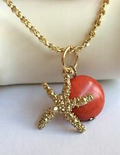 Starfish Necklace Red Coral Stone Gold Plated Island Beach Sea Life 24 Inch USA