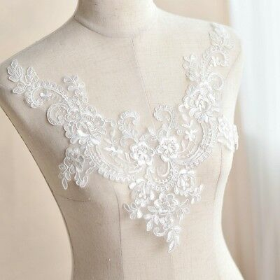 silver crystal yoke collar embroidery lace applique patch motif
