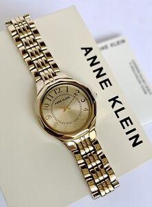 Anne Klein Watch * 3490CHGB Easy to Read Gold Steel Watch for Women