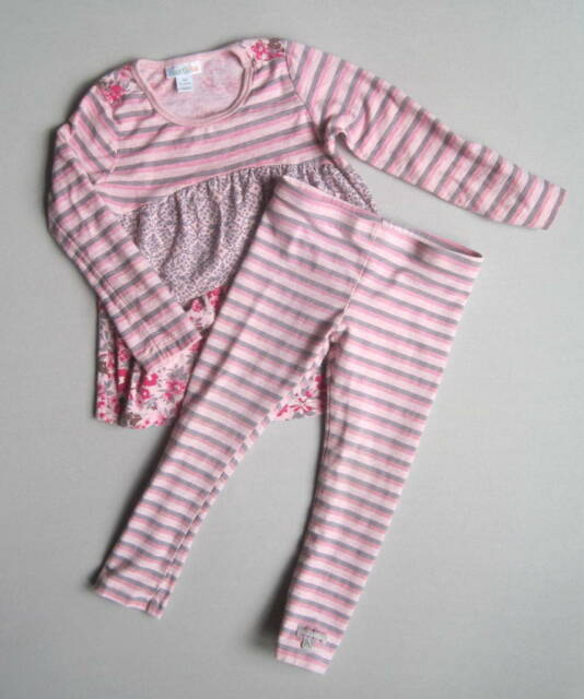 Naartjie Girls 3 Yrs Tapestry Floral Mixed Print Tunic & Striped Leggings Pink