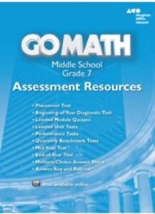 Details about Grade 7 Go Math Assessment Resources with Answers Middle  School 7th 2014