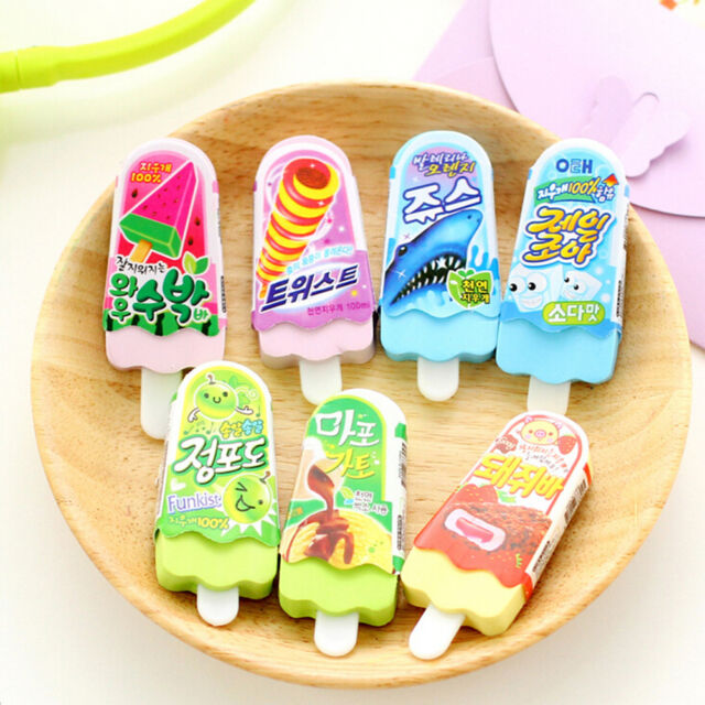 Cute Ice Cream Popsicle Eraser Rubber Pencil Stationery Child Toy 1pc BR