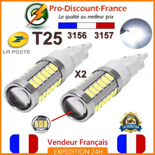 2 x Ampoule 33 LED T25 P27//7W 3156 3157 Blanc Feux De Jour Recul W27//7W