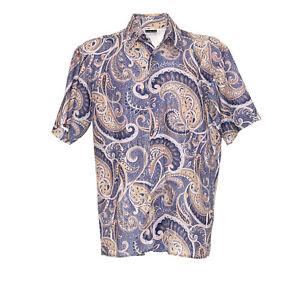 Herren-Hemd-Groesse-M-Kurze-Armel-Shirt-Retro-Vintage-Paisley-Muster-Freizeit