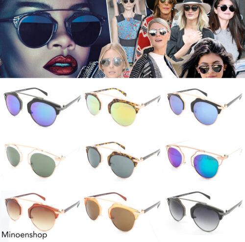 Damen Verspiegelte Linse Sonnenbrille so Real Rihanna Designer Promi Steampunk