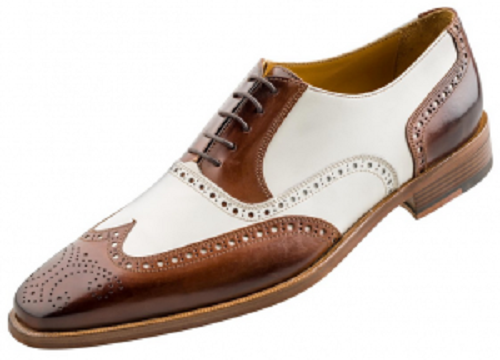 Homme Fait à la main Chaussures Spectator Richelieu à bout d'aile marron & blanc Formal Dress démarrage Bew