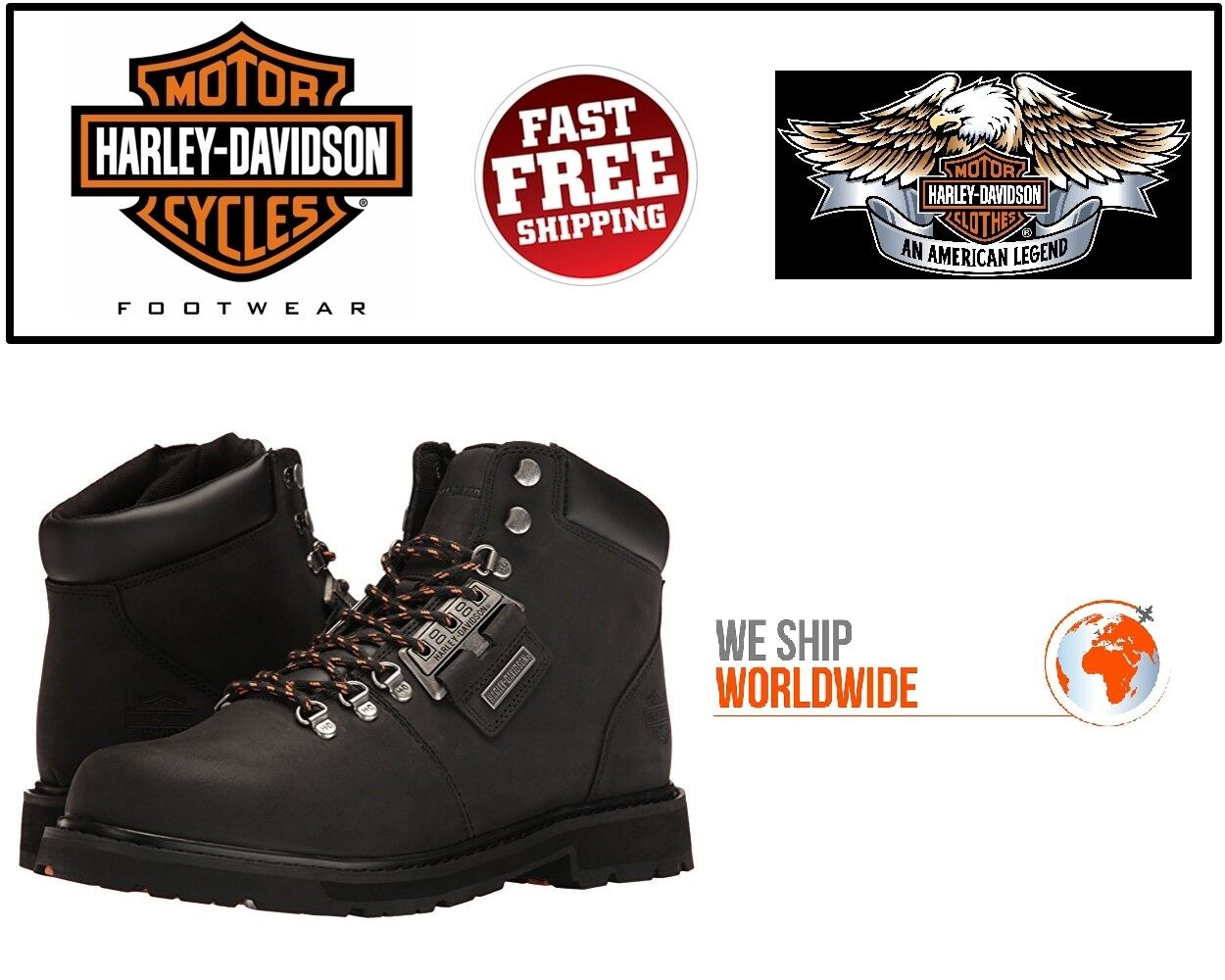 Harley Davidson D93434 Templin  Men's Black Grain Leather Motorcycle Boots
