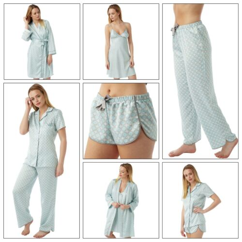 Ladies Aqua Satin Chemise Short Slip Nighty PJs Set Bathrobe size 8-32
