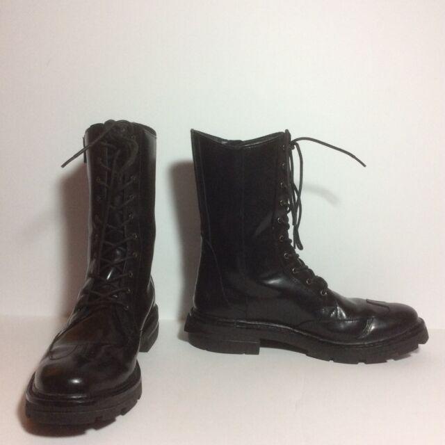 Y-3 $550 Jones ll Combat Boots Black Leather Sz 5D UK Fits 6.5 US HTF EUC