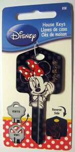 MINNIE MOUSE BLANK HOUSE KEY FOR 5 PIN KWIKSET KW1 CAN BE PUNCHED TO YOUR CODE