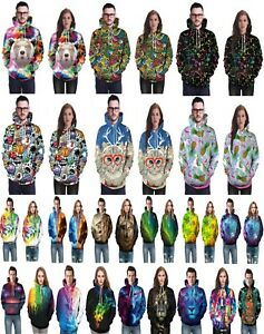 Unisex-Man-Women-Galaxy-3D-Hoodie-Pullover-Jumper-Sweatshirts-Wolf-Lion-Tiger