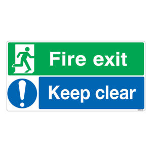 Pack of 2 Fire Exit Keep Clear Sign 210x106mm Health /& Safety Vinyl Sticker