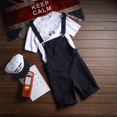 Mens Casual Slim Pockets Overalls Short Pants Cotton Loose Shorts Trousers 4.9