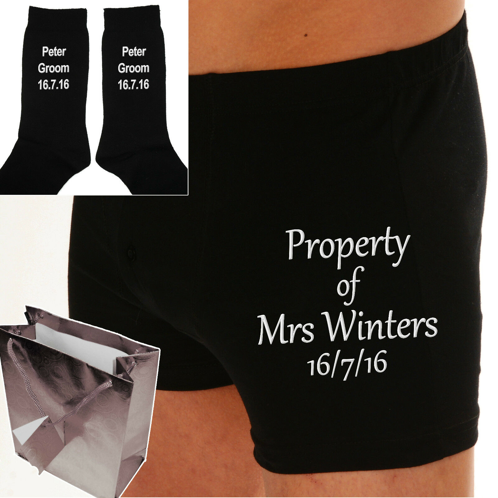 PERSONALISED Bride to Groom gift Wedding Day Boxer shorts EMBROIDERED TEXT