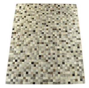 premium kuhfell teppich mix grau patchwork 200 x 160 cm cowhide rug mix grey ebay. Black Bedroom Furniture Sets. Home Design Ideas