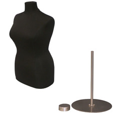 Female Dress Form Pinnable Black Mannequin Torso Size 18 20 With Metal Base