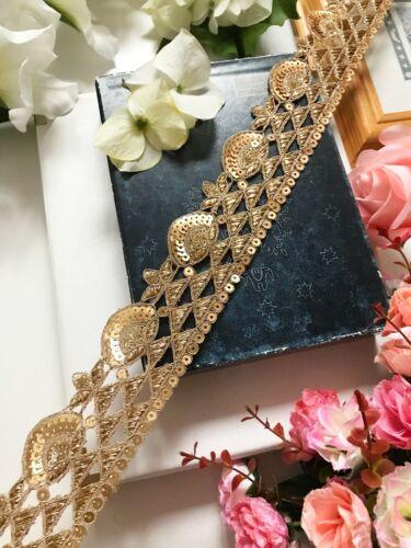 Antique Gold travail de découpe Indian Zari sequin sur le net Decorative Sari Dupatta bordure en dentelle