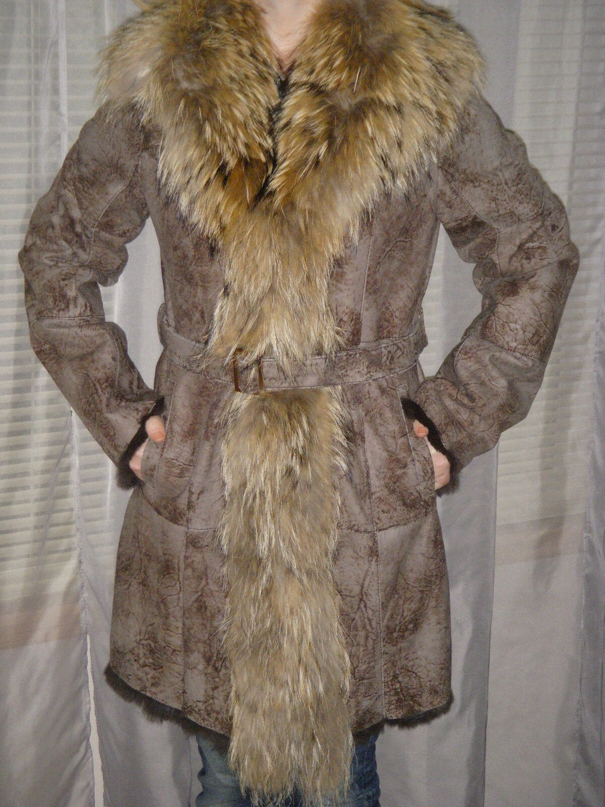 K-YEN Shearling Fur Leather Coat Racoon Trim made in France France France Size L BNWT d4056d