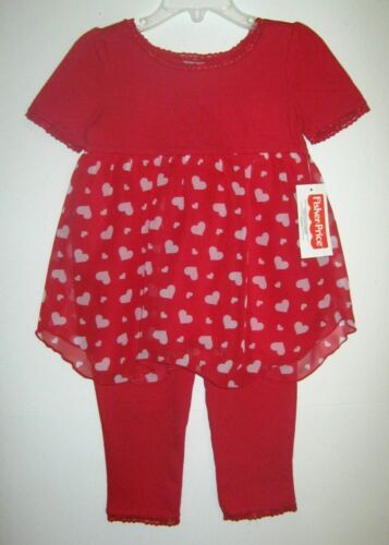 24M 6//9M,12M 18M NEW W//T FISHER PRICE GIRLS 2 PC RED HEART PANT OUTFIT 3//6M