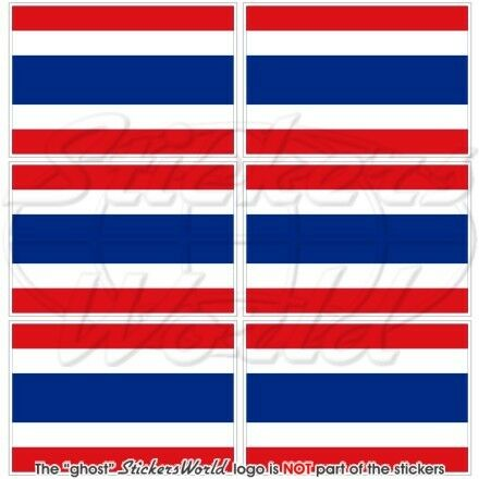 THAILAND Flag Decals x6 Thai SIAM Siamese 40mm Mobile Cell Phone Mini Stickers