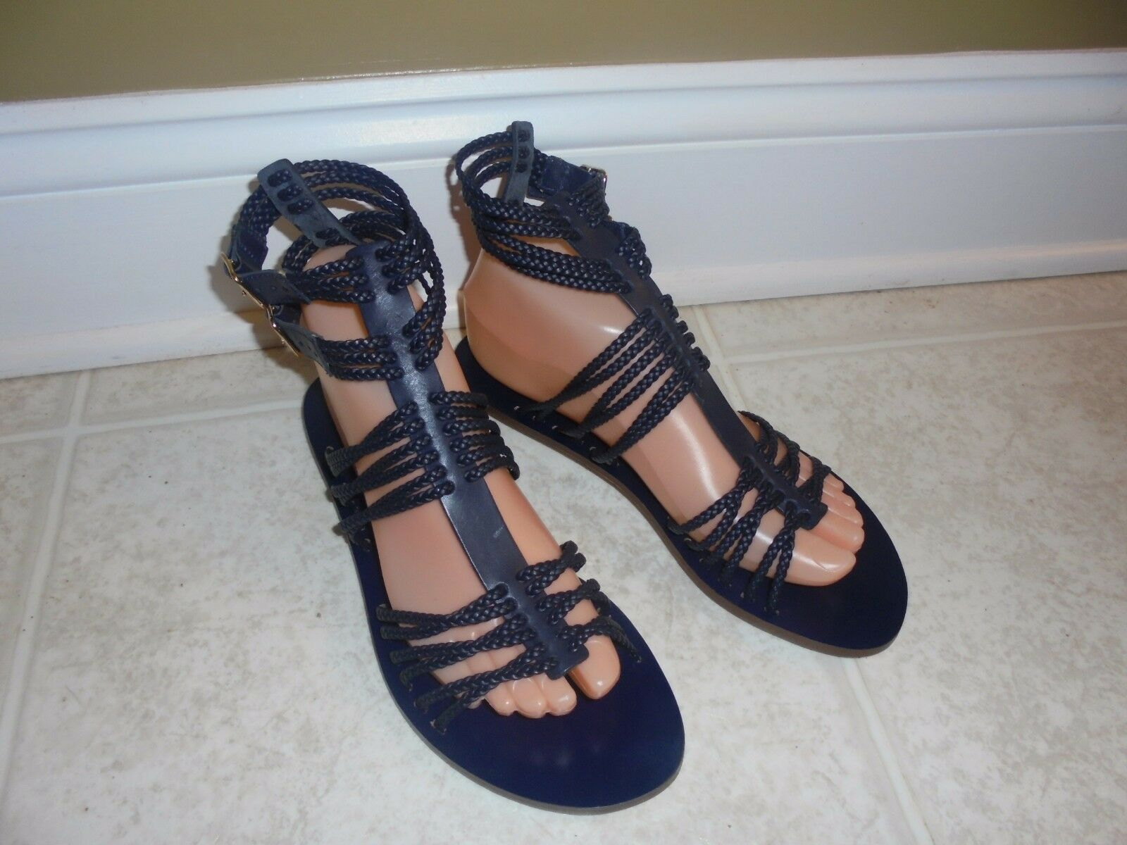 J CREW GLADIATOR BREADING SANDALS IN noir Taille-7 1 2 AND Taille-6