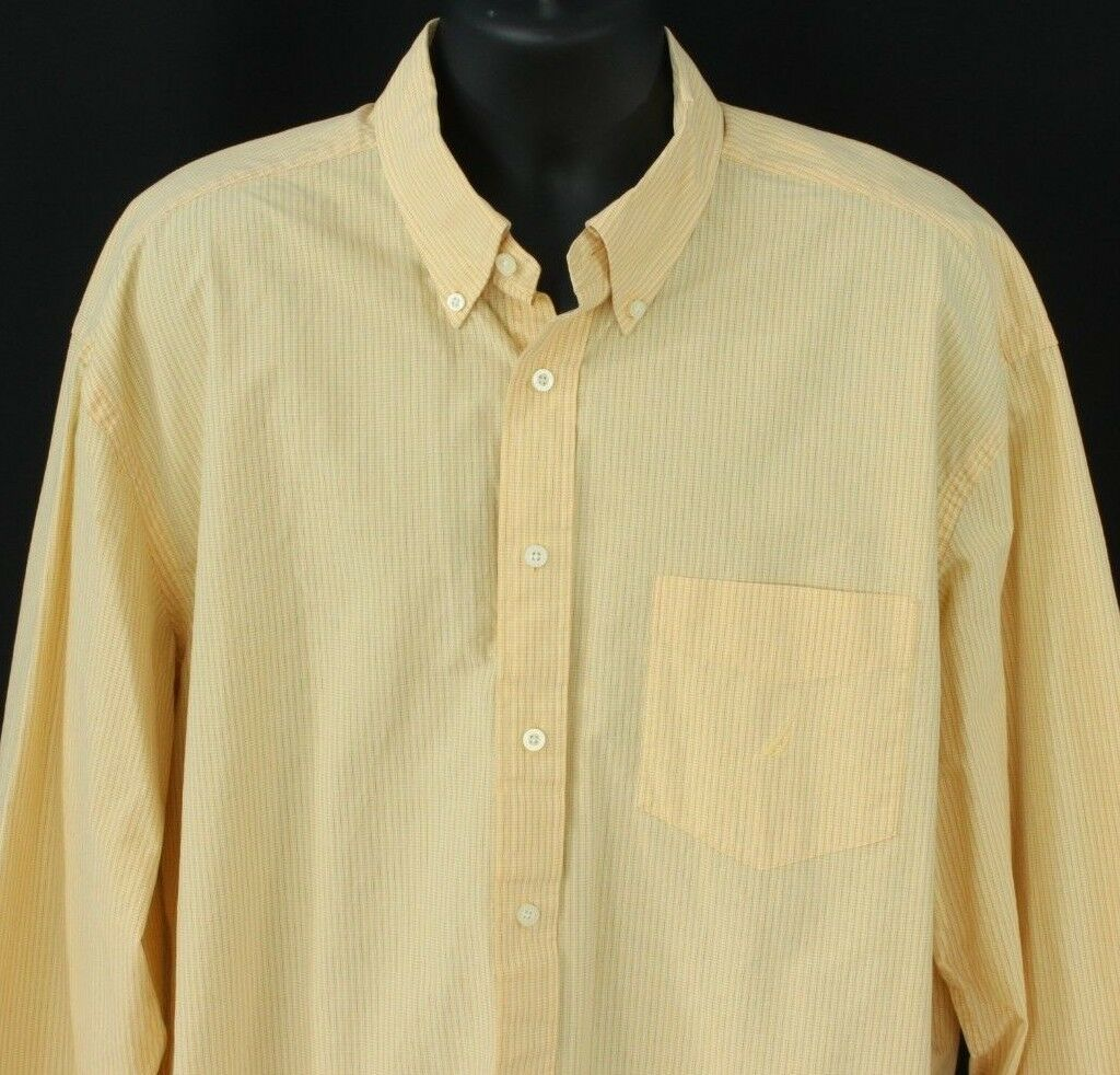 Nautica Mens 2XL Button Front Shirt L S Yellow Sanded Poplin Extra Large