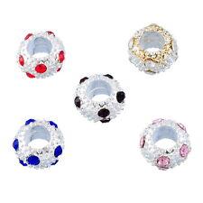 PD: 10 European Mix Versilbert Strass Spacer Perlen Beads 10mm