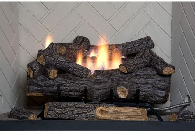 """Natural Gas Fireplace Logs Set 30/"""" Large Realistic Vented fire Place Insert Log"""