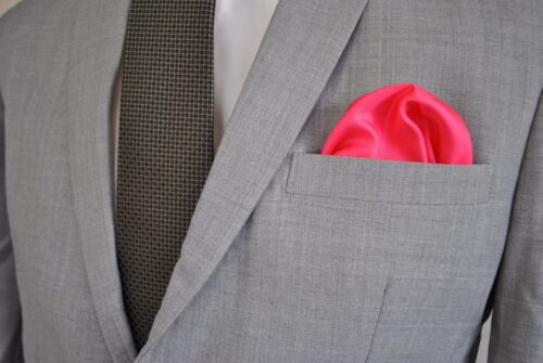 Frederick Thomas bright pink 100/% silk pocket square handkerchief FT1669