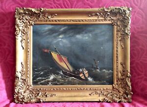 Antique-19th-Century-Old-English-School-Oil-on-Canvas-Seascape-in-Gilded-Frame