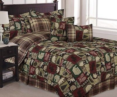 Bear Lodge Comforter Bedding and Deer Sheet Set Cabin Hunting Lodge Bed in Bag