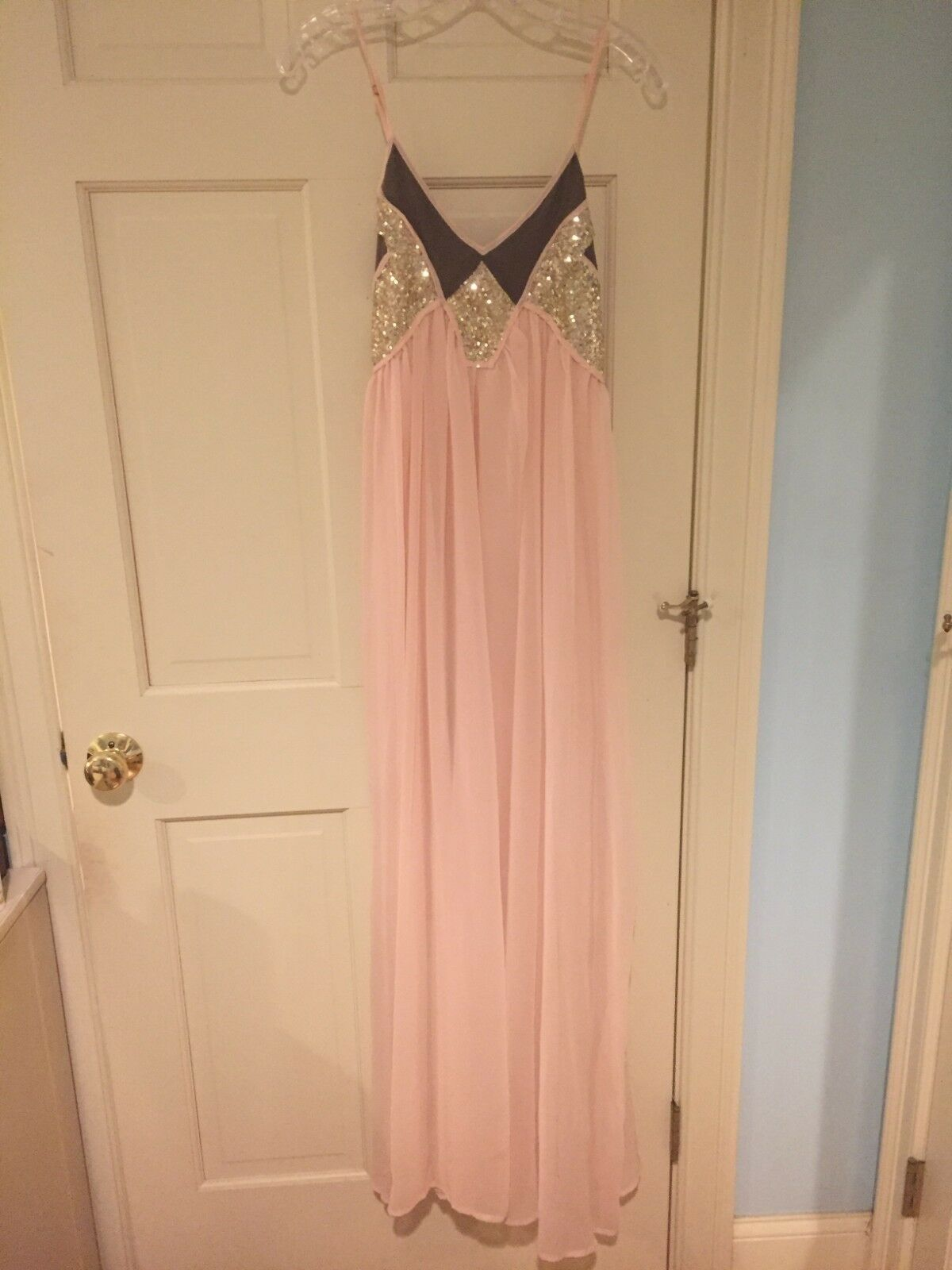 Nasty Gal Sequin Pink Maxi Gown Dress Size S 2