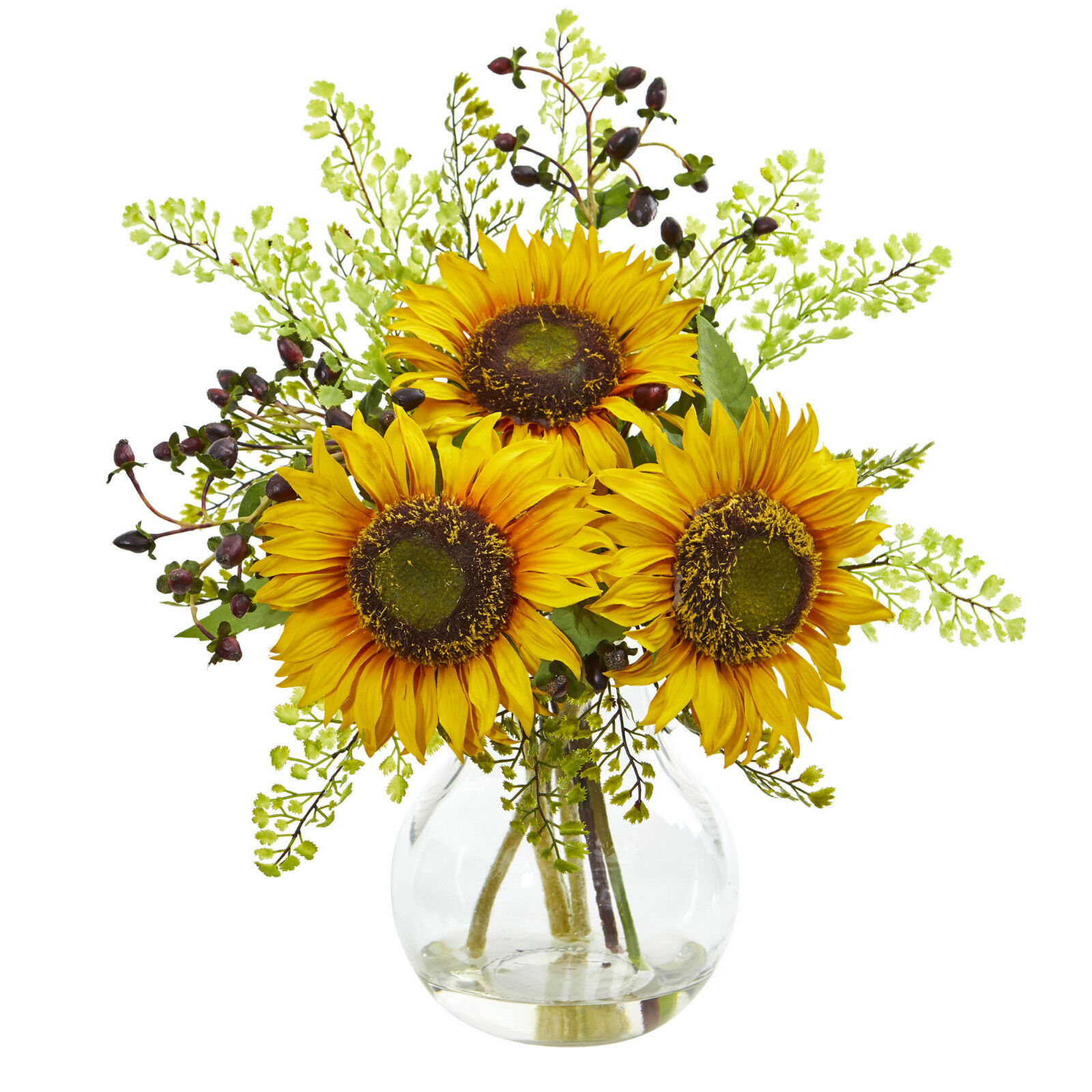 "16"" Sunflower Artificial Arrangement in Glass Vase High Quality Silk Plant"