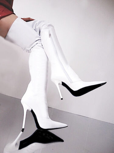 Custom White Stivali Overknee Shoes Stiefel Couture 34 Bianco Leather Cq Boots a5gRqUWw