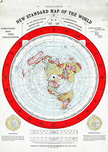 Flat earth map large 23x32 alexander gleason 1892 standard map of image is loading flat earth map large 23 034 x32 034 gumiabroncs Images