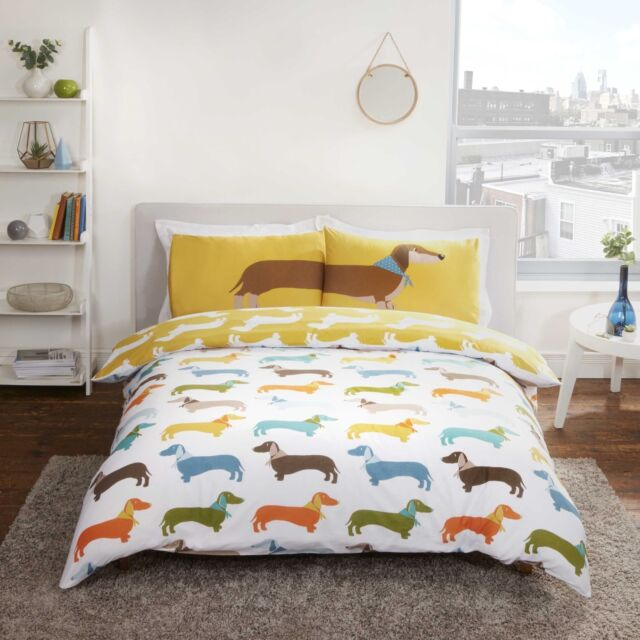 SAUSAGE DOG KING SIZE DUVET COVER AND PILLOWCASE SET POLYCOTTON BEDDING NEW