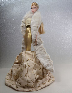 Gold-amp-Silk-Gown-Fur-Wrap-Handmade-by-KK-Fits-Fashion-Royalty-FR2-NuFace