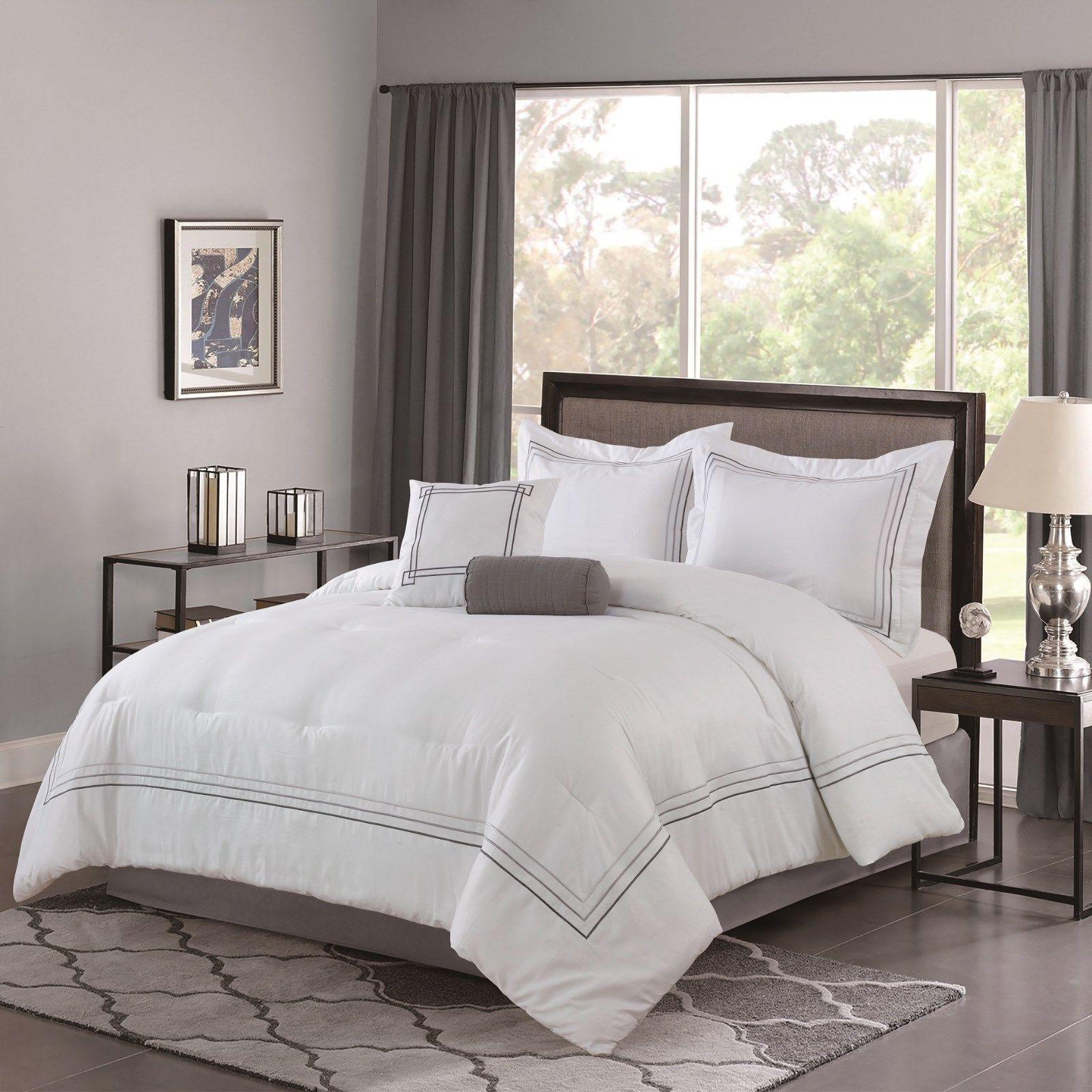 100% Cotton Weiß grau Hotel Design 5 pcs King Queen Comforter Set