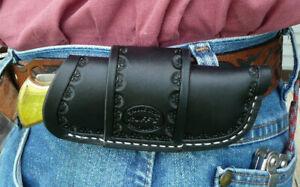 Large Leather Horizontal Cross Draw Pocket Knife Sheath Ruff's Border Tool Black
